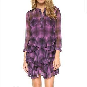 Rebecca Taylor Long Sleeve Plaid Ruffle Dress Sz 0